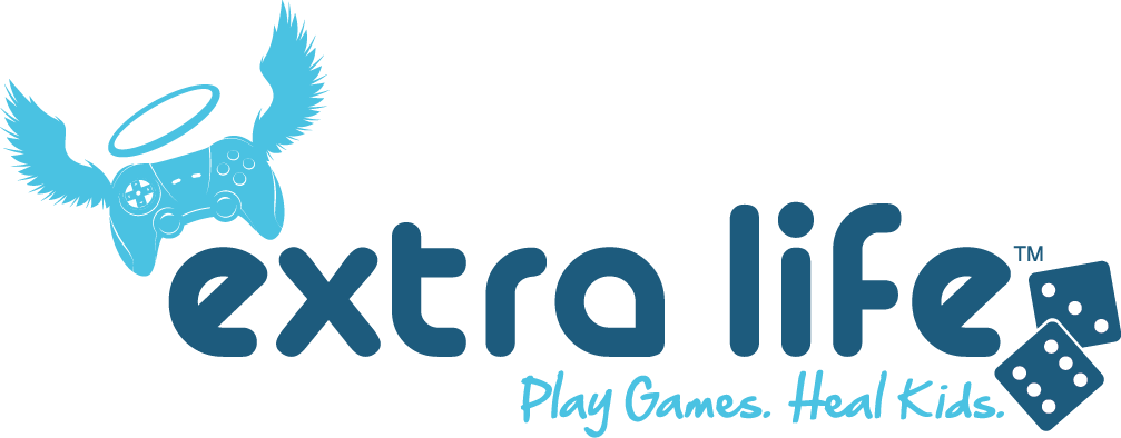 A light blue controller with wings and a halo on the left, followed by the words Extra Life, Play Games, Heal Kids, and a pair of dark blue playing dice on the right.
